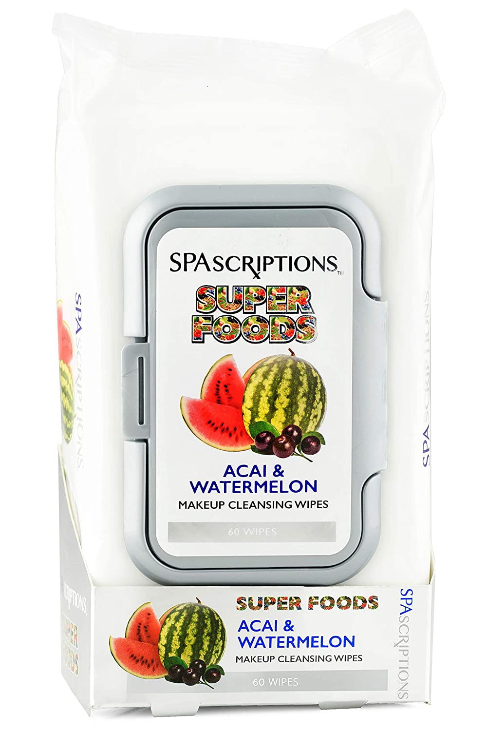 Superfoods- Watermelon & Acai Makeup Cleansing Wipes- 60Ct