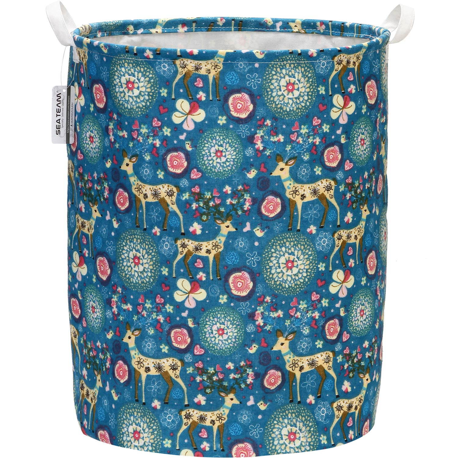 "Sea Team 19.7"" x 15.7"" Large Sized Folding Cylindric Canvas Fabric Laundry Hamper Storage Basket with Deer Pattern, Blue"