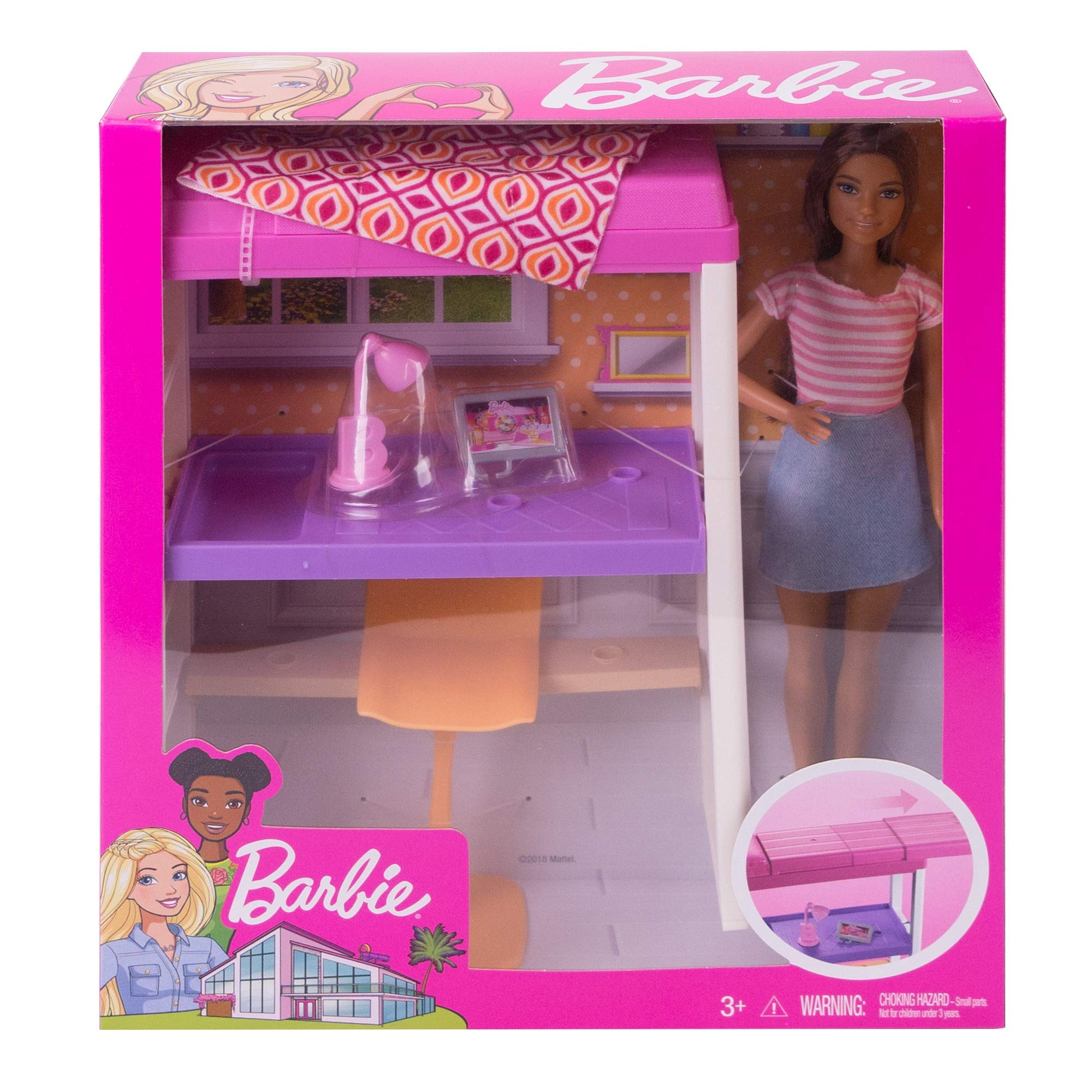 Letto A Castello Barbie.Barbie Doll Loft Bed Desk Playset Buy Online In Lebanon