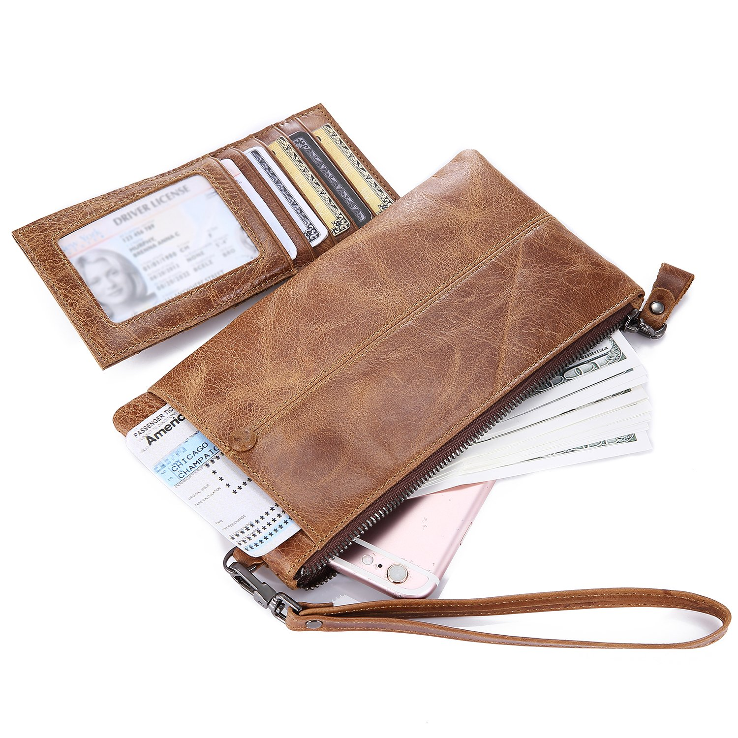 IVESIGN Zipper Wallet RFID Blocking Credit Card Holder Genuine Leather With Wristlet by IVESIGN (Image #4)