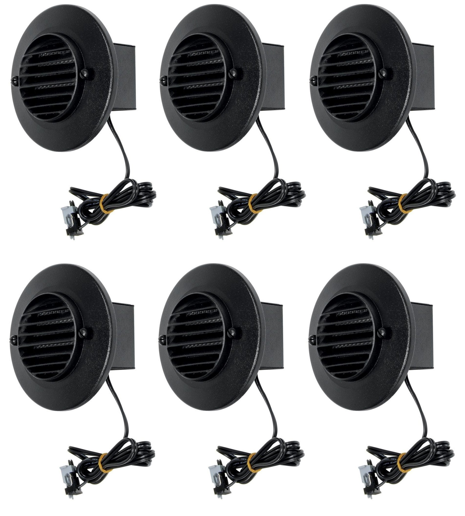 6 Pack Malibu 8401-9403-06 LED Deck Step Round Recessed Lights Low Voltage with Black Finish BY MALIBU DISTRIBUTION