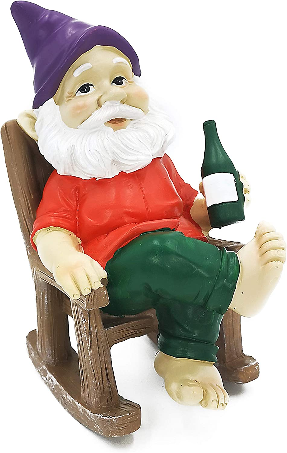 """Garden Gnome Statue Outdoor Decoration Resin Gnome Sculpture Rocking Chair 7.7"""" Tall"""