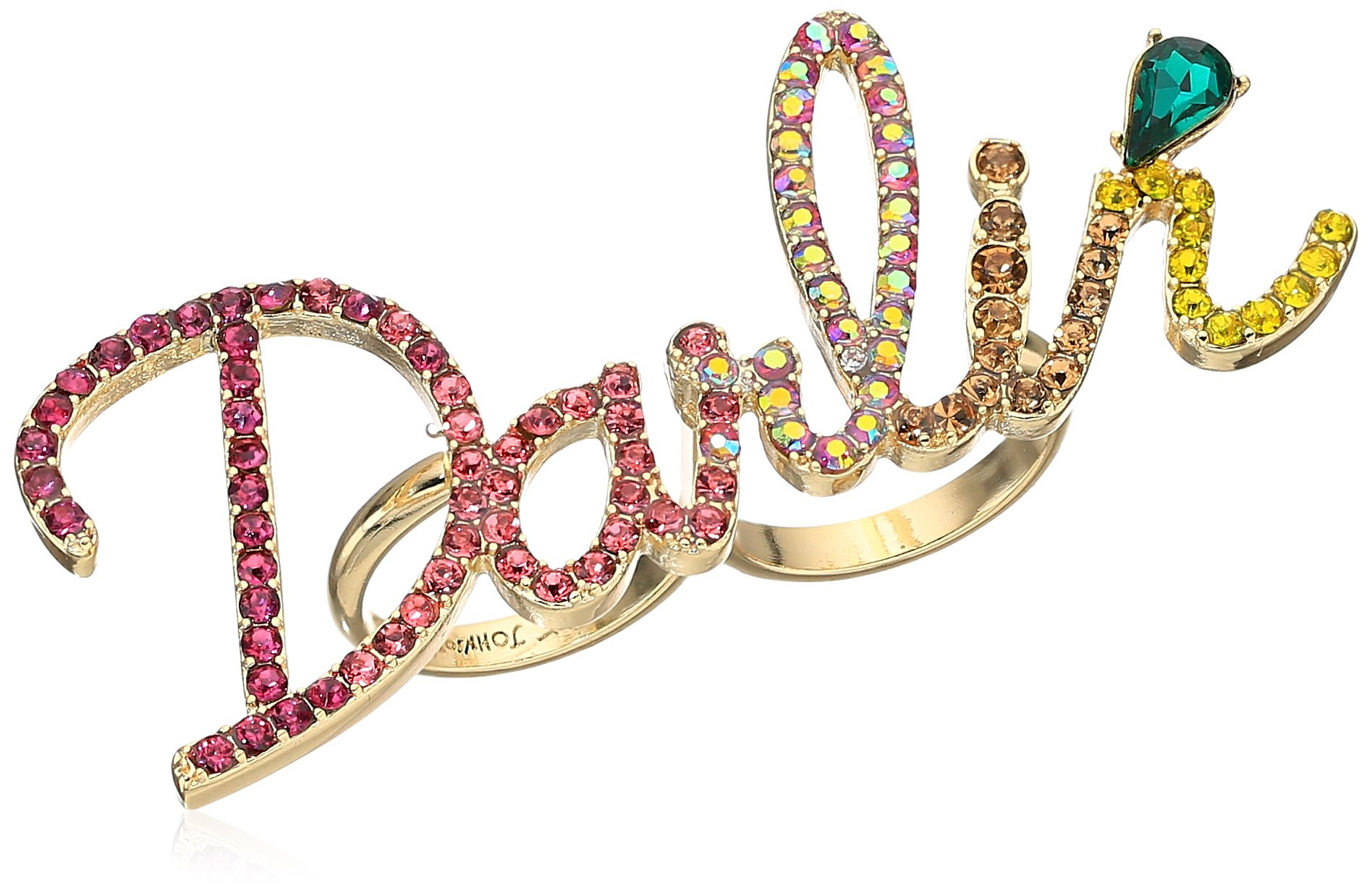 Betsey Johnson Womens Granny Chic Darlin Double Finger Ring, Multi, One Size