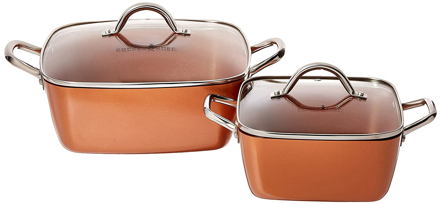 "Copper Chef 8""/11"" Deep Dish Pan 4 Pc Set"