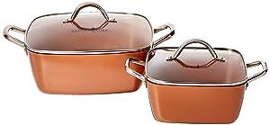 "Copper Chef 8""/11"" Deep Dish Pan 4 Pc Set"