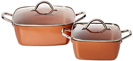 Amazon Com Copper Chef 8 11 Deep Dish Pan 4 Pc Set Kitchen Dining