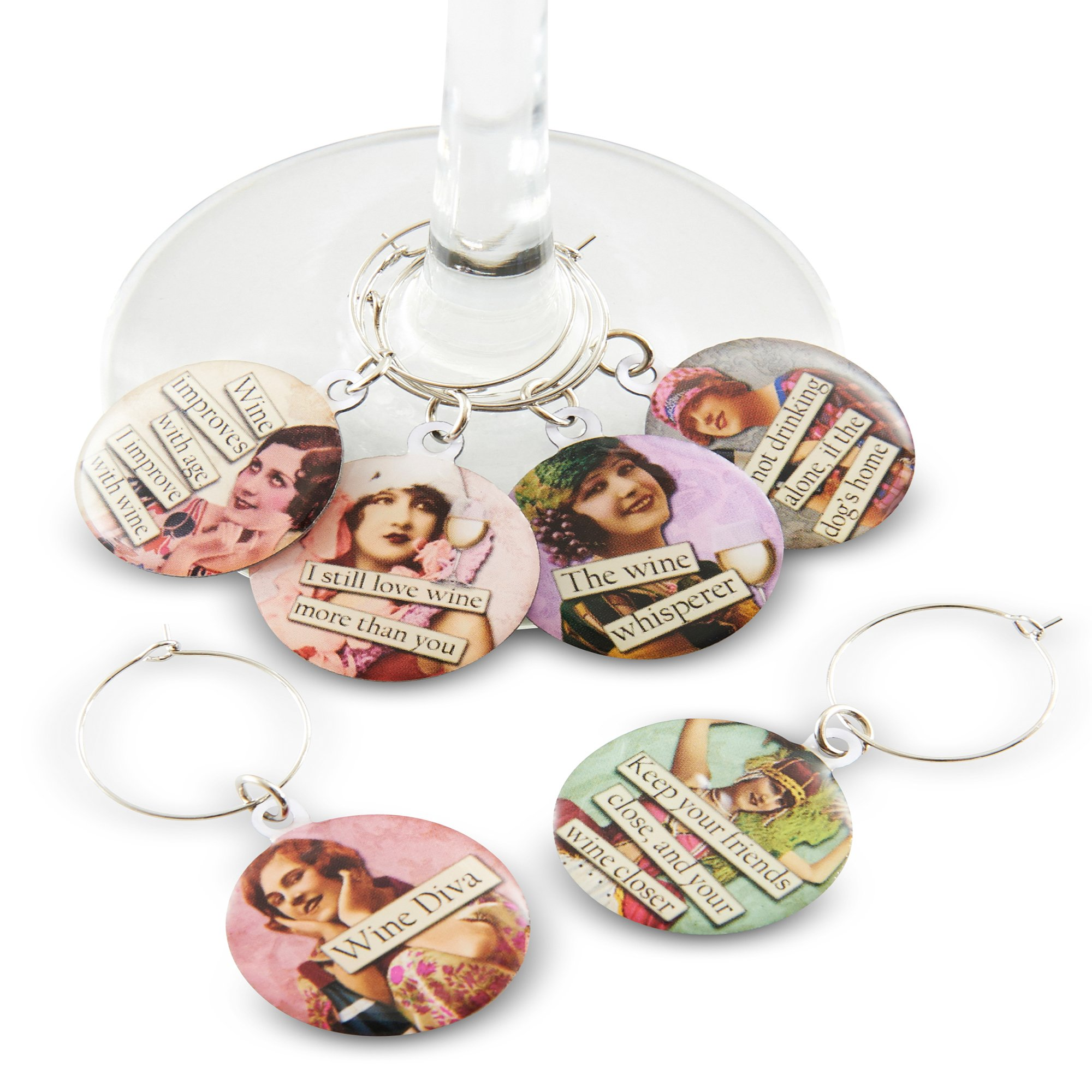 Funny Vintage Women Wine Glass Charms - Set of 6 Wine Glass Charms. Always know which glass is yours with these wine markers! by Savvy Design Store