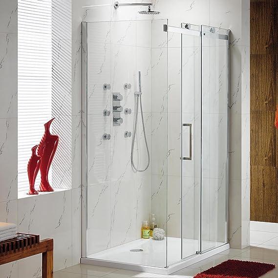 1000 x 760 mm o cama de matrimonio deslizante fácil de limpiar mampara de ducha de Panel lateral + juego de plato: iBath: Amazon.es: Hogar