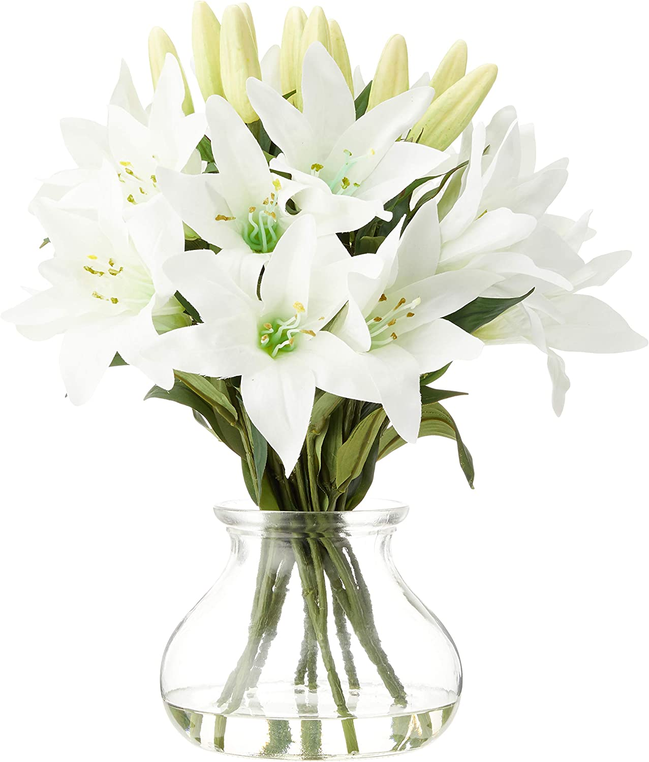 Nearly Natural 1434 Lily Silk Arrangement With Glass Vase White 17 25 X 7 X 7 Home Kitchen Amazon Com