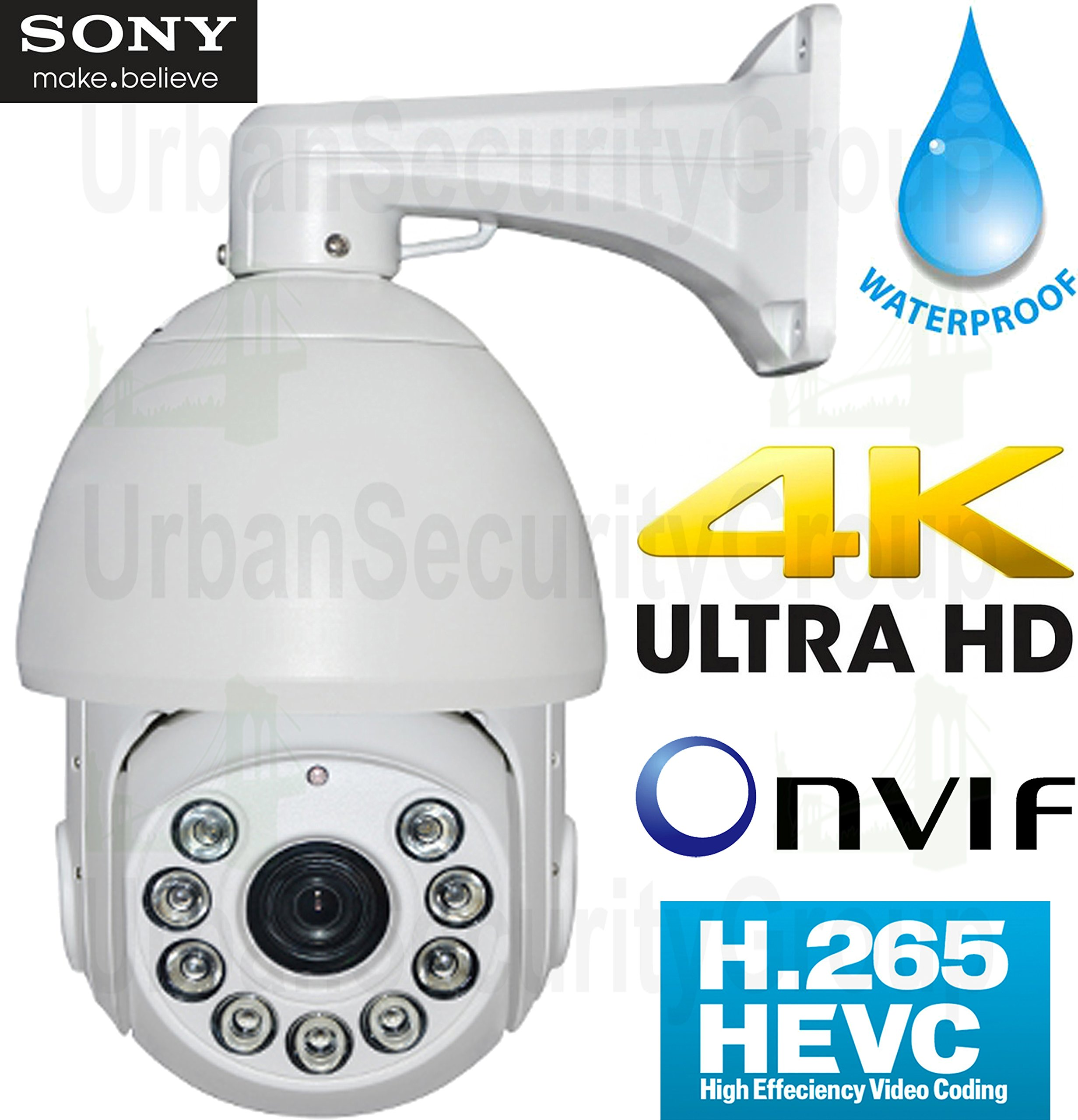 USG Business Grade H.265 5MP@30FPS IP PTZ Speed Dome Security Camera Sony DSP, 36x 4.5-162mm Remote Zoom + Auto-Focus Lens, 9x IR LEDs, ONVIF 2.4, IP66 Weatherproof Apple Android Phone Viewing