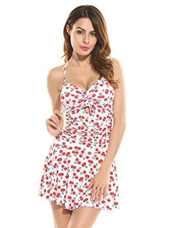 fe413ad829a24 Bulges Women Sexy Strappy Shaping Body One Piece Padded Print Floral Dot  Swimdress Swimsuits