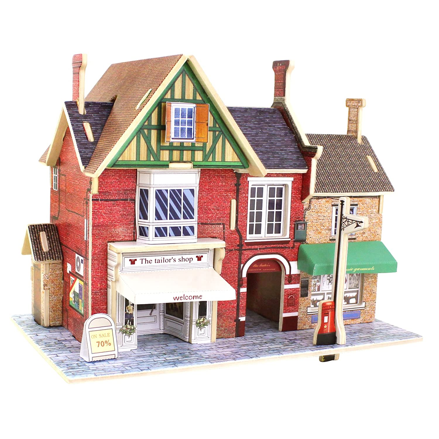 Robotime Wood 3D House of Puzzles British Clothing Store Woodcraft Construction Kit Assemble DIY Christmas Birthday Gift Dolls House Kit