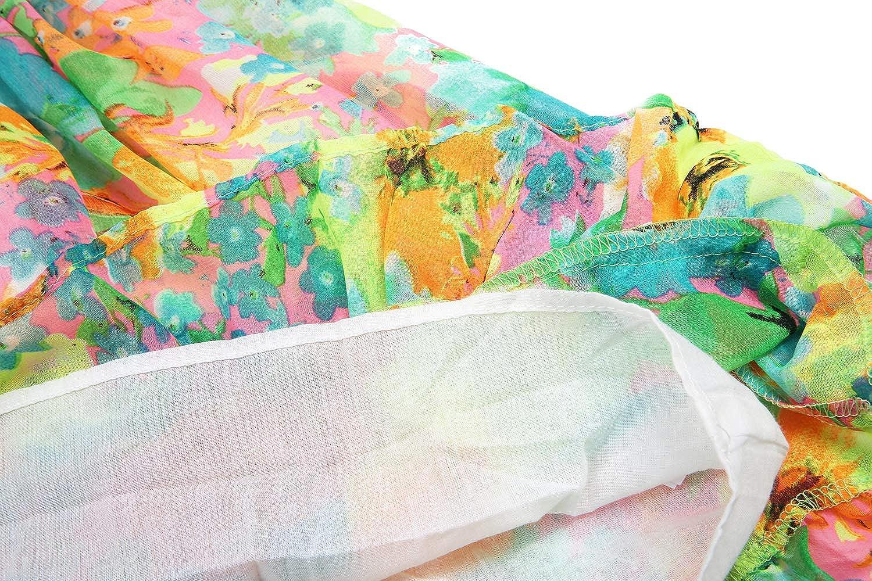 BONNY BILLY Robe B/éb/é Fille /Ét/é Boh/ême Mousseline /à Volants Imprim/é Floral Rode de Plage sans Manches