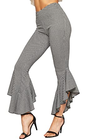 Womens Checked Bell Bottom Flared Frill Hem Trousers Ladies High Waist Pants