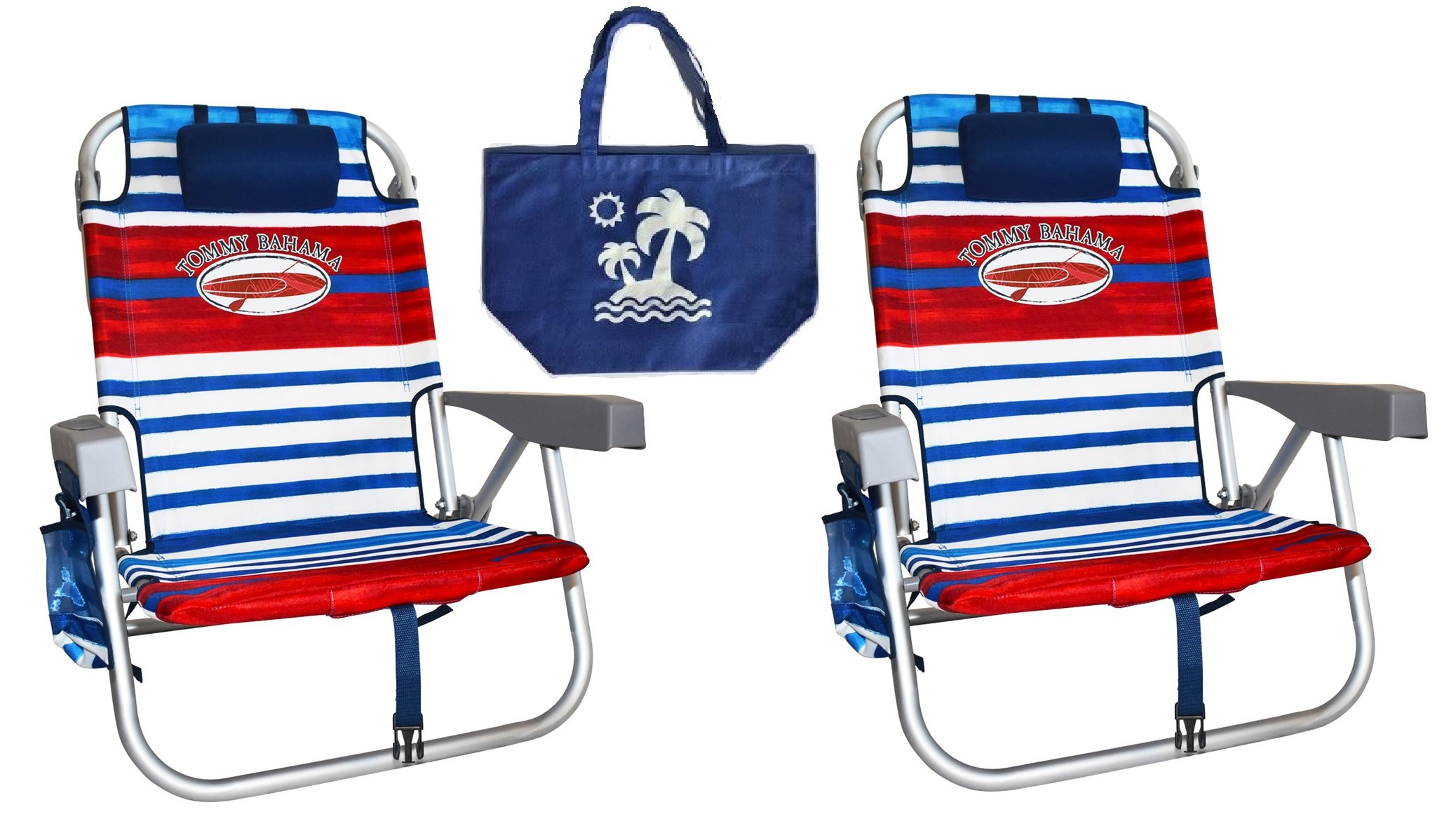 2 Tommy Bahama Backpack Beach Chairs/ Red White Blue Stripes + 1 Medium Tote Bag