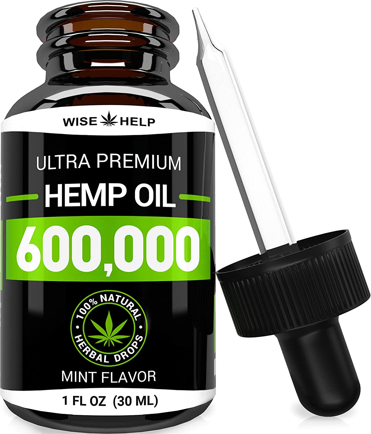 Hemp Oil Drops 600,000 - Made in USA - Anxiety & Stress Relief - Optimum Absorption & BIOAvailability - Natural Supplement for Sleep, Immune & Mood Support - Omega 3-6-9 - Mint Flavor