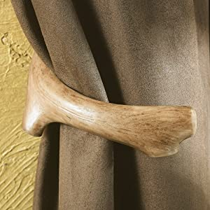 BLACK FOREST DECOR Antler Lodge Curtain Tie Backs - Set of 2 - Rustic Window Treatments