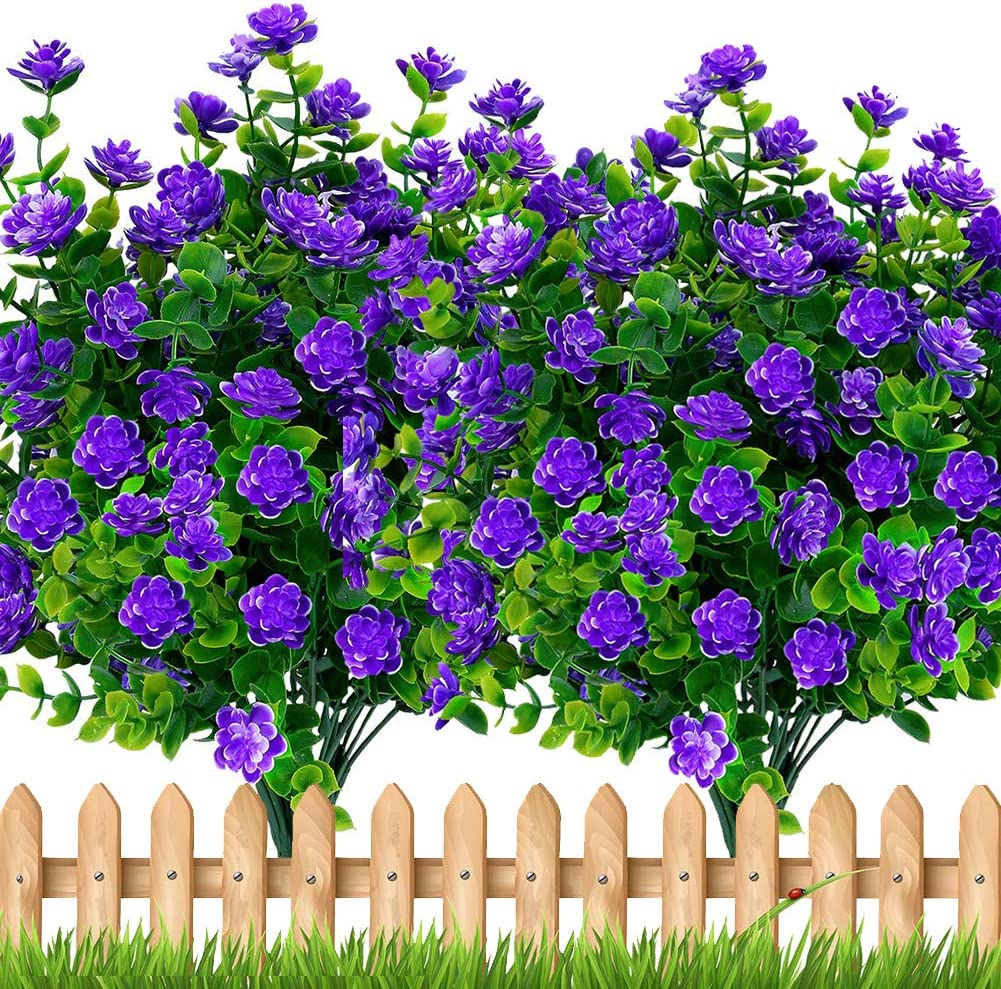 Artificial Flowers Outdoor Plastic Plants - 6 Bundles Outside Face Fake Greenery UV Resistant No Fade Faux Daffodils Fall Shrubs Home Garden Porch Patio Decoration Office Indoor (Purple)