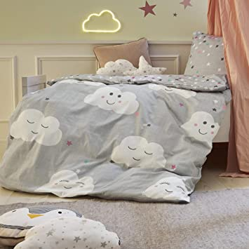 Soliver Bettwäsche 4026 Kindergröße Renforce 100 Baumwolle Babybettwäsche Wolken Und Sterne Grau 2 Teiliges Set Aus Deckenbezug 100x135cm