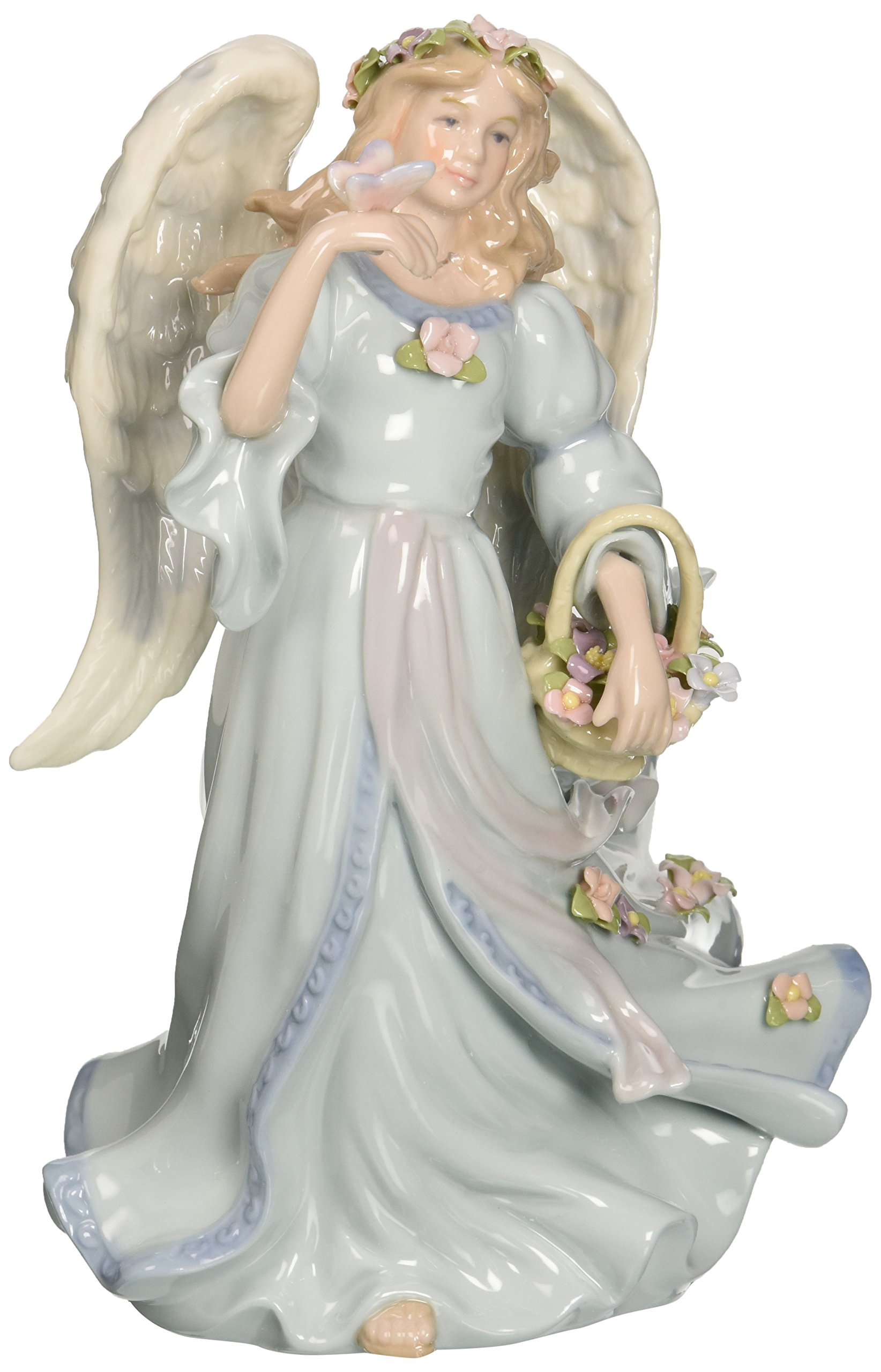 Cosmos 1461 Fine Porcelain Angel with Flower Basket and Butterfly Musical Figurine, 7-7/8-Inch,Blue