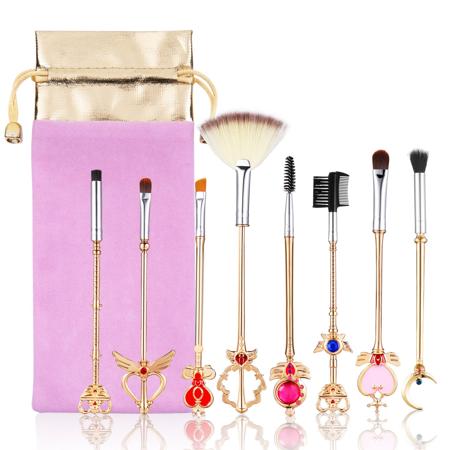 Beauty Warrior 8 Pcs Makeup Brushes Set Foundation Contour Powder Eye Shadow Eyeliner Lip Blending Cosmetic Beauty Make Up Brushes Tools SUOCHUANG