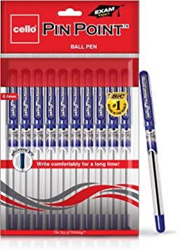 10 pc Pen/'s Cello Pinpoint Fine Write Ball Point Pen Black Ink 0.5 Mm Tip