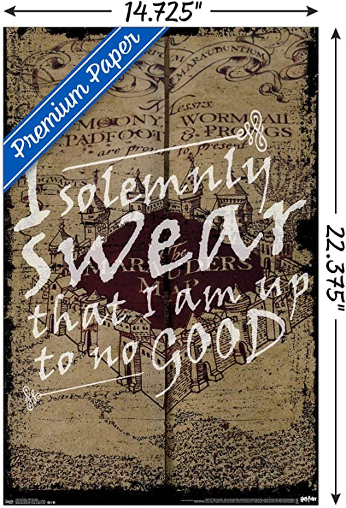 Solemnly Swear No Good Harry Potter Movie Funny Quote Modern Poster Art Wall