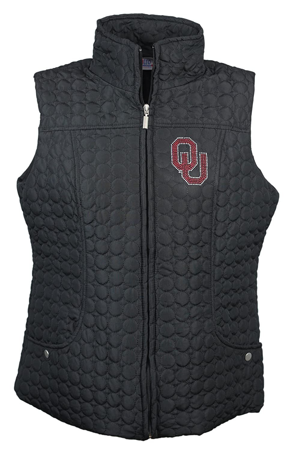 Nitro USA NCAA Womens Circle Quilted Vest with Rhinestone /& Metallic Ou Logo
