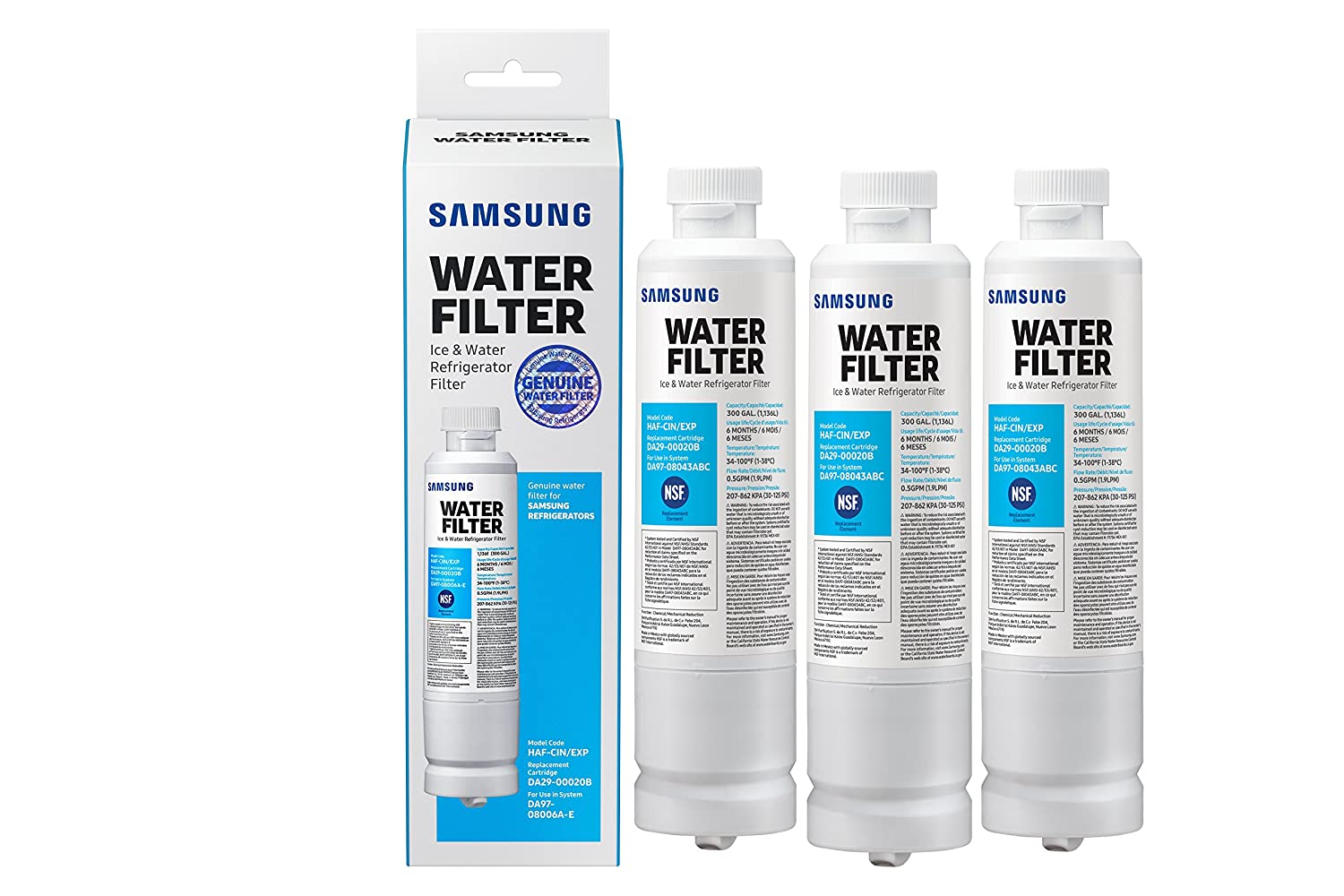 Samsung Genuine DA29-00020B Refrigerator Water Filter, 3 Pack