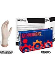 GLOVEWORKS Industrial White Latex Gloves - 4 mil, Powder Free, Textured, Disposable, Large, TLF46100, Case of 1000