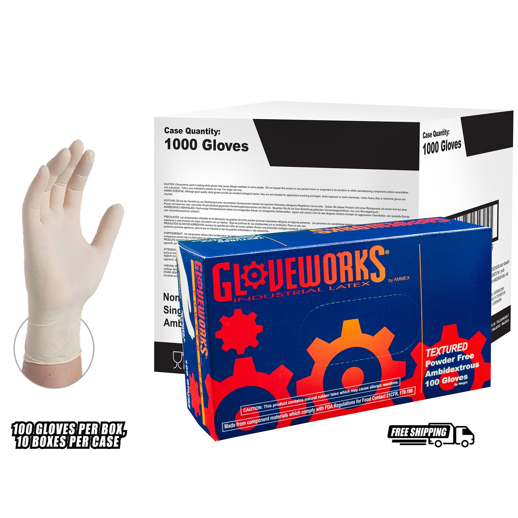 GLOVEWORKS - TLF44100 - Ivory Latex Industrial Powder Free Disposable Gloves (Case of 1000)