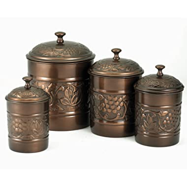Old Dutch International 811 Old Dutch Antique Copper Heritage Canister 4 Piece Set