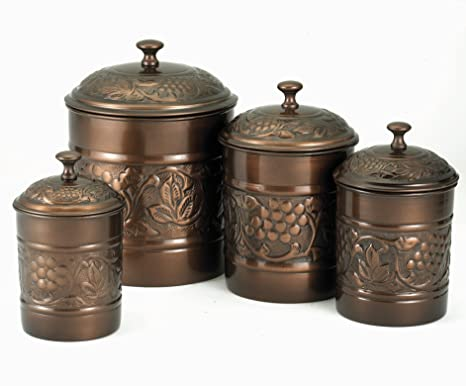 Old Dutch Antique Copper Heritage Canister Set   4 Piece Set