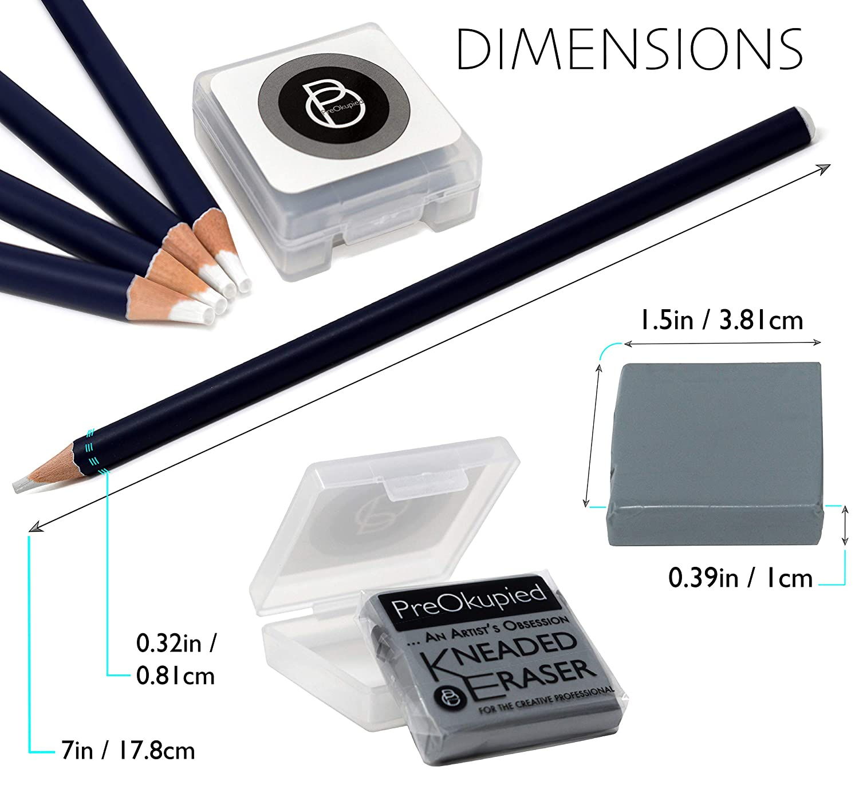 PreOkupied 4-Pack Art Eraser Pencils Including 1 Kneaded Eraser and Case
