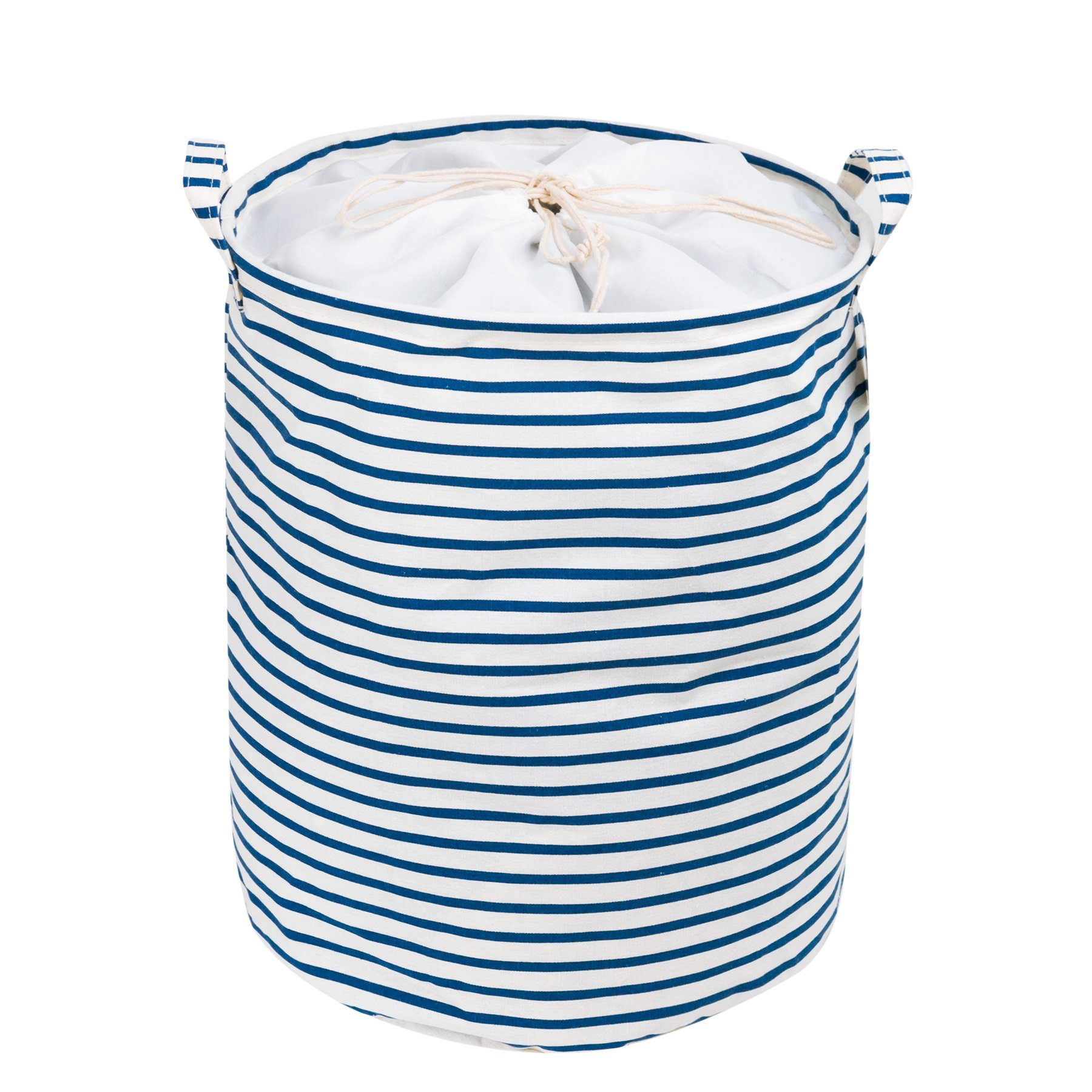 Zonyon Collapsible Laundry Hamper, 15.7'' Jumbo Large Dirty Clothes Laundry Storage Basket with Drawstring for Kids,Boys,Girls,Toys,Closet,College Dorm,Bathroom,Blue White Strips