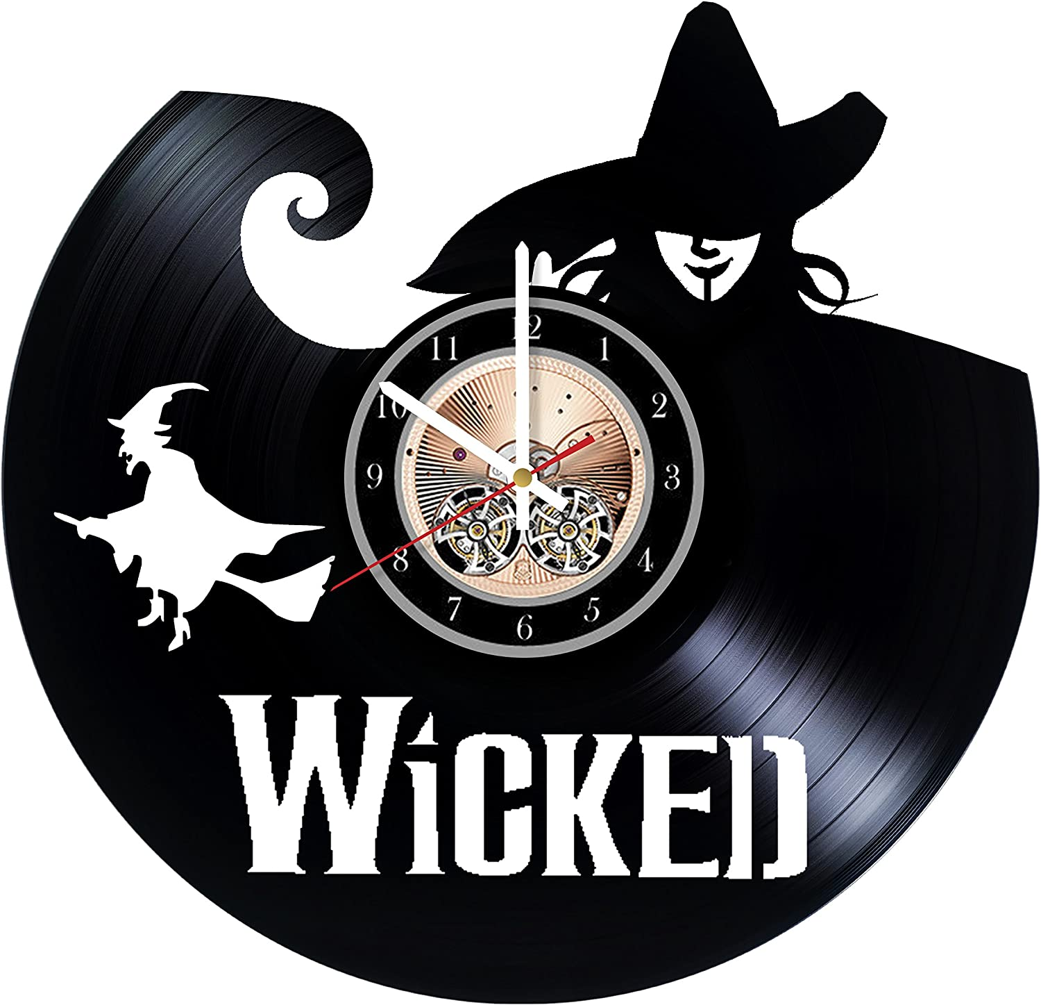 """Wicked Broadway Musical Art Vinyl Record Wall Clock 12"""" - Really The Most Original Gift for Him and Her - Perfect Element of The Interior and Amazing Home Decor Idea"""