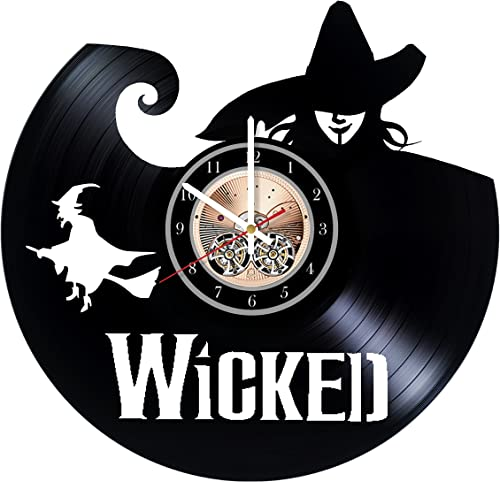 Wood Workshop Wicked Broadway Vinyl Record Wall Clock – Get Unique Bedroom or Living Room Wall Decor – Gift Ideas for him and her