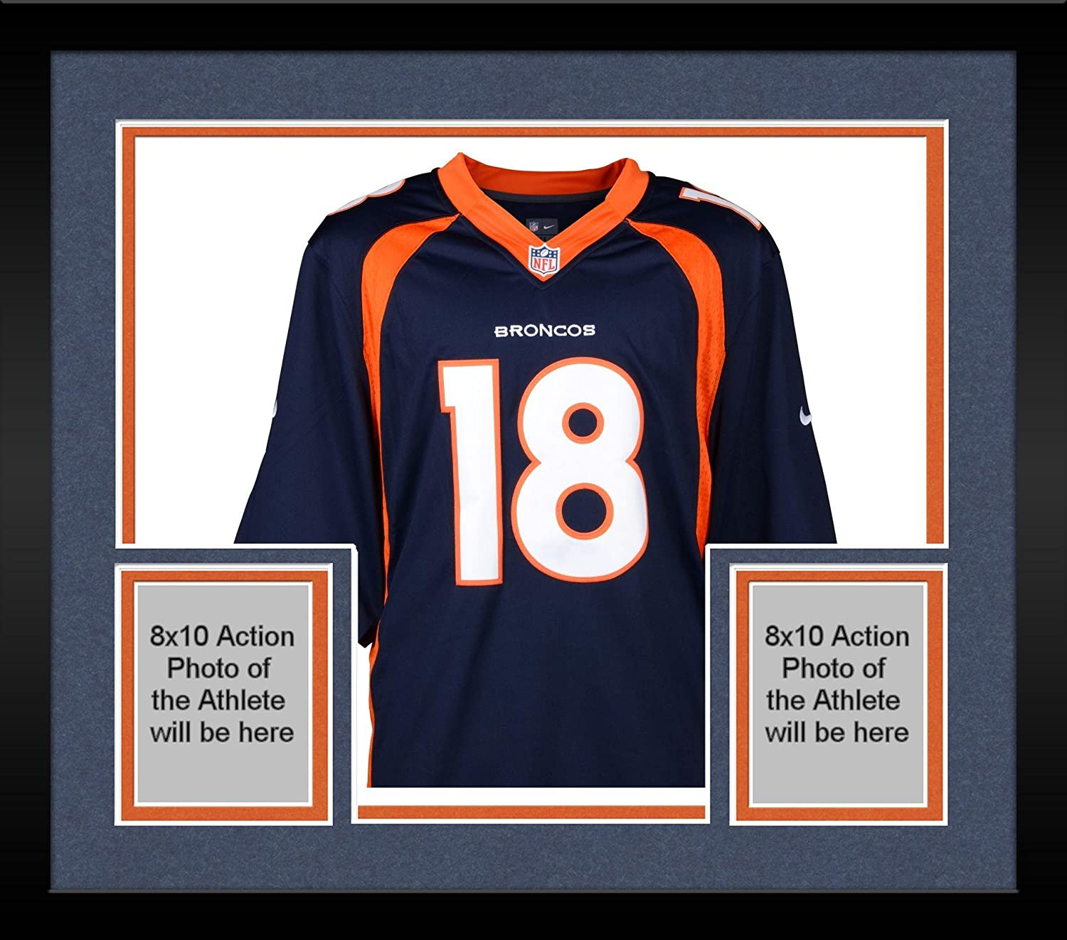 75b23bd58bc Framed Peyton Manning Denver Broncos Autographed Navy Blue Nike Elite Jersey  - Fanatics Authentic Certified at Amazon s Sports Collectibles Store