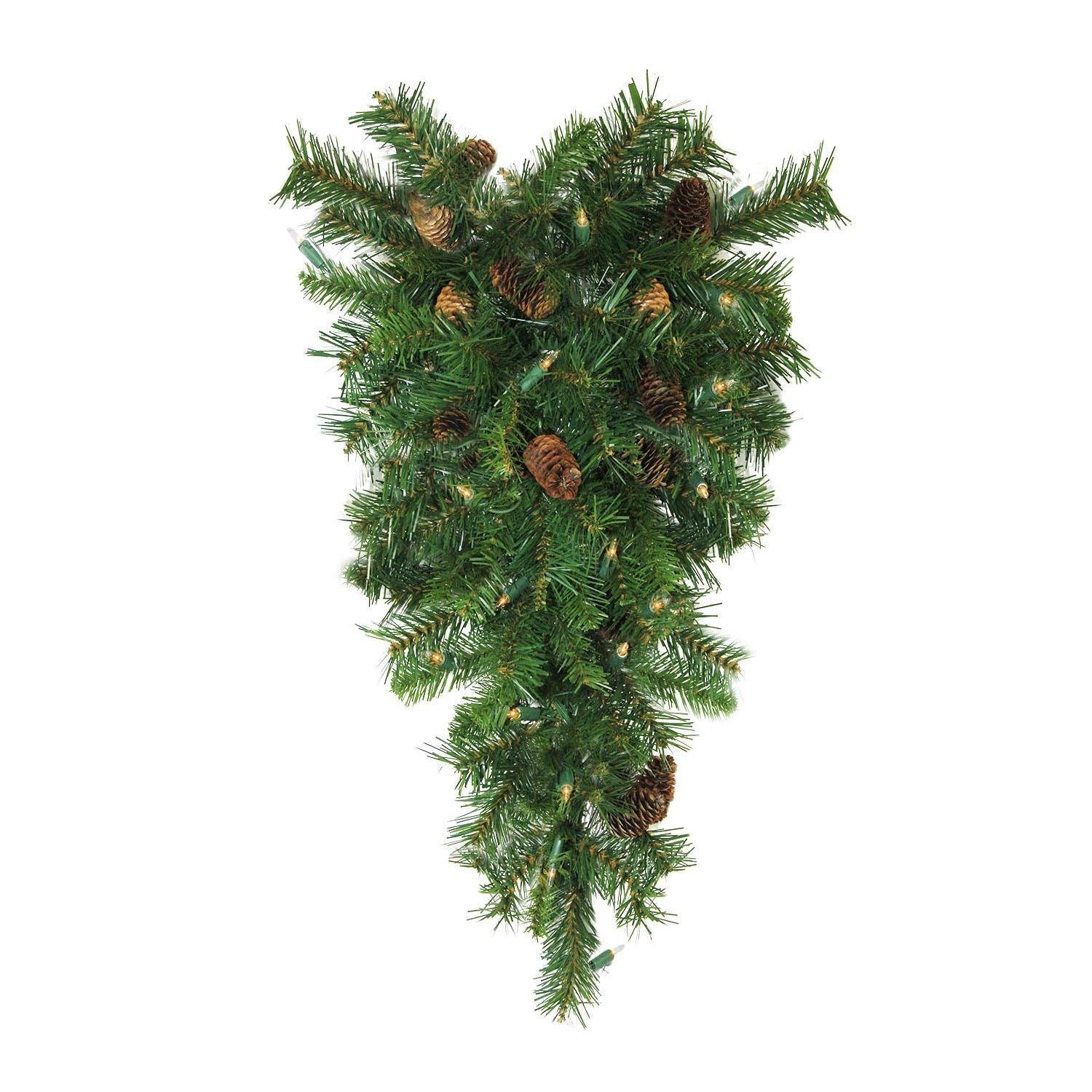 Northlight 30'' Pre-Lit Dakota Red Pine Artificial Christmas Teardrop Swag - Clear Dura Lights