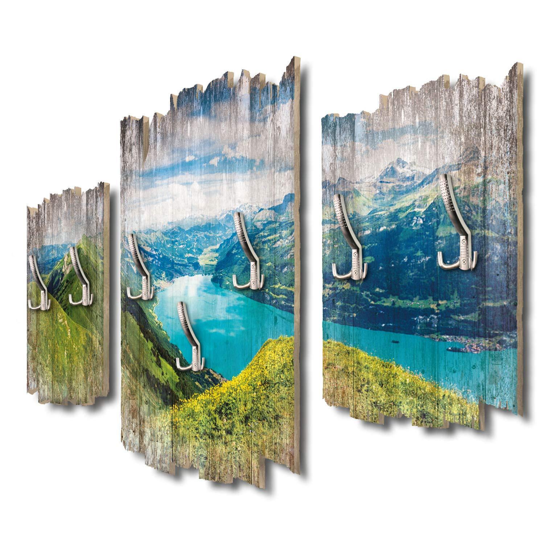 Kreative Feder Panorama Brienzersee Schweiz Designer Wandgarderobe Flurgarderobe Wandpaneele 95 x 60 cm aus MDF DTGH027