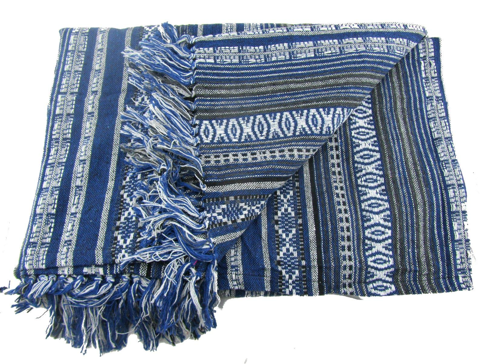 Large Handwoven Tribal Blanket Aztec Ikat Bedspread Queen Size 100% Cotton 90'' x 85'' by Blue Orchid (Image #3)