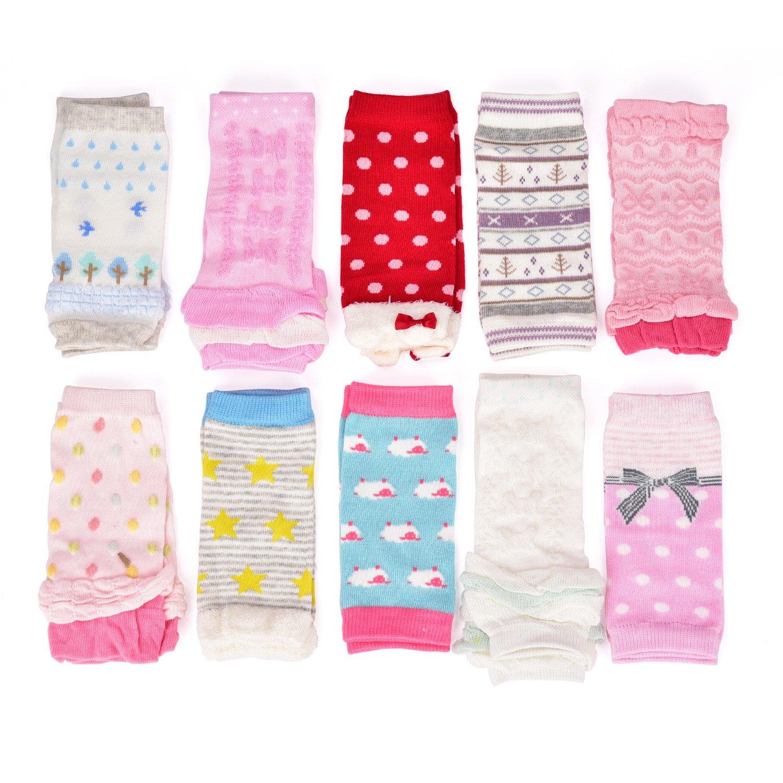 6 Pairs Baby Girls Boys Leg Warmers, Toddler Leggings Knee Pads 100% Cotton Random Designs