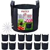 PHYEX 12-Pack 10 Gallon Nonwoven Grow Bags, Aeration Fabric Pots with Durable Handles, Come with 12 Pcs Plant Labels