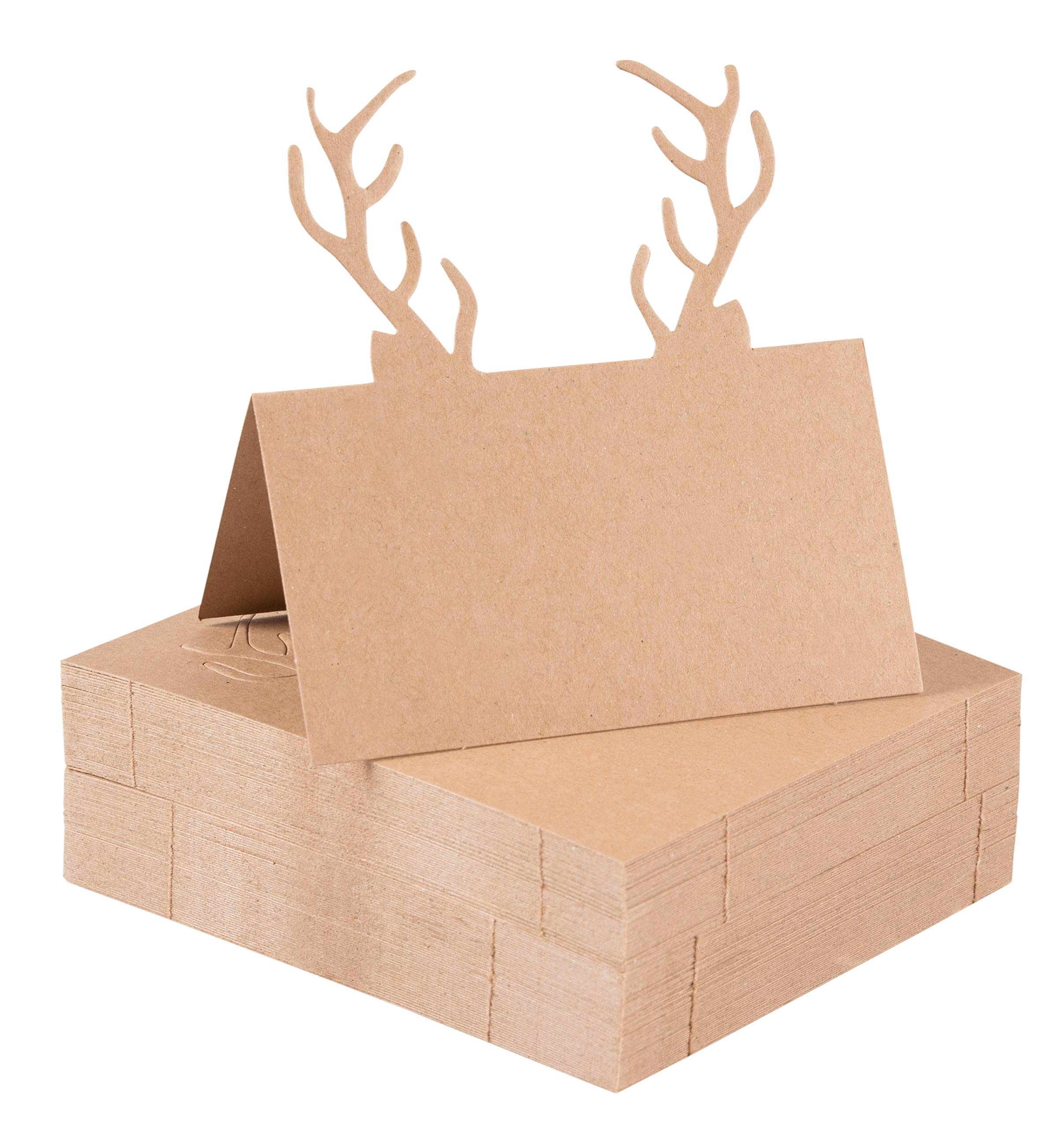 Juvale Christmas Table Place Cards - 50-Pack Kraft Paper Tent Cards with Reindeer Antlers Die Cut Design, Holiday Festive Rustic Dining Table Decoration and Party Supplies, Brown, 2 x 3.5 Inches