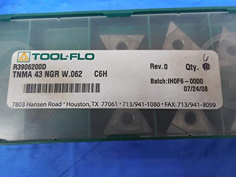 6PCS LOT New Tool FLO Carbide Inserts TNMA 43 NGR W.062 C6H IHOF6 R3906200D CNC