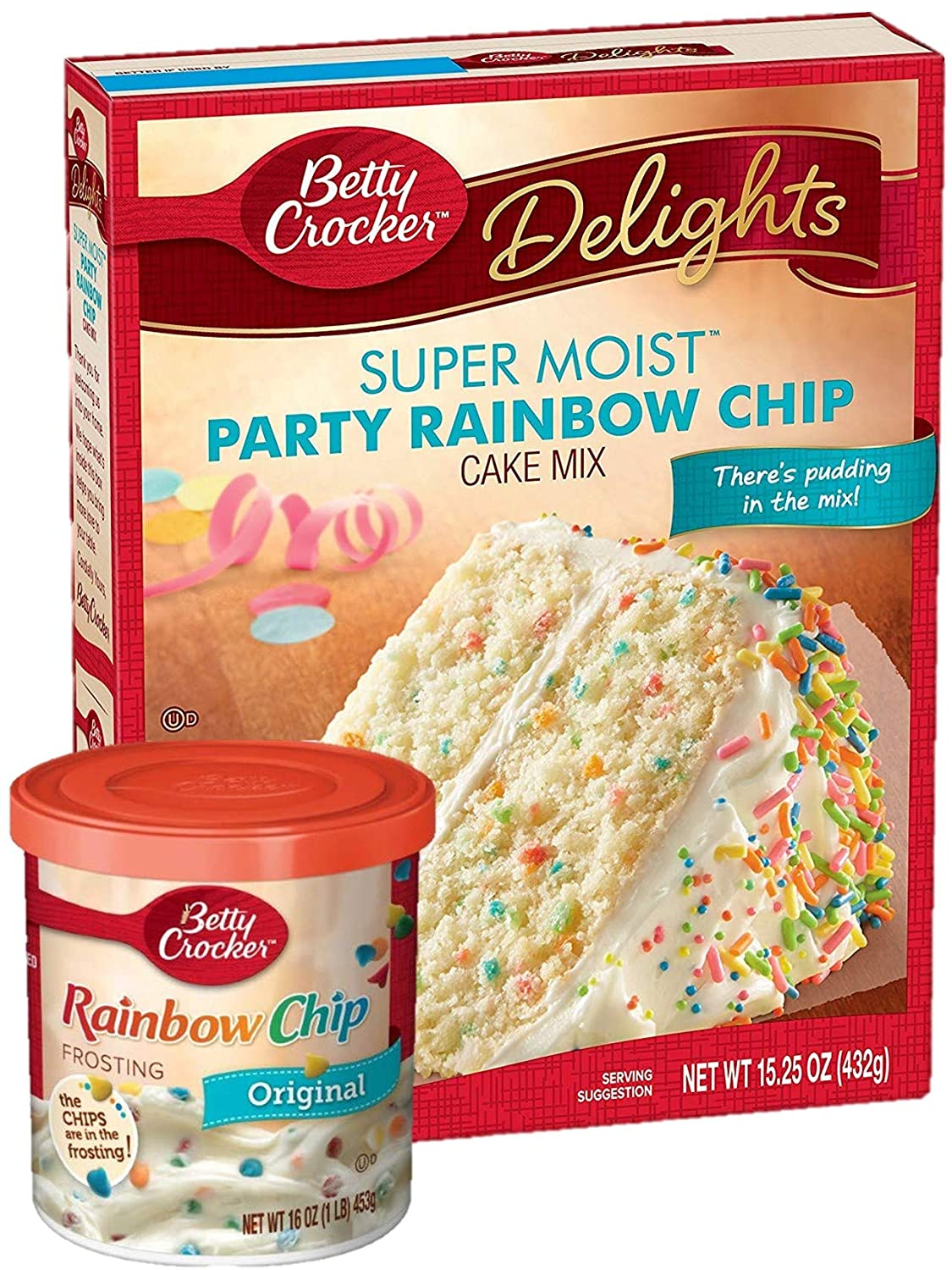 Betty Crocker Party Rainbow Chip Cake Mix and Rainbow Chip Frosting Bundle (2 Items)