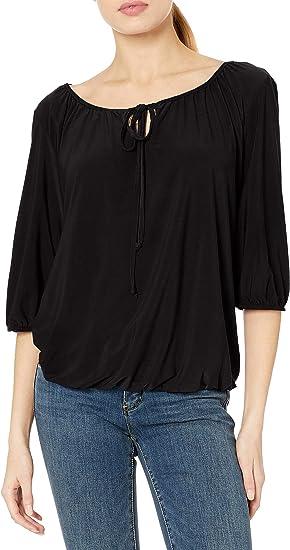 Star Vixen Womens Plus-Size 3//4 Sleeve Peasant Elastic-Hem Keyhole-tie Top Blouse