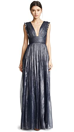 Monique Lhuillier Bridesmaids Womens Metallic Ruffle Gown with V Neckline, Navy, ...