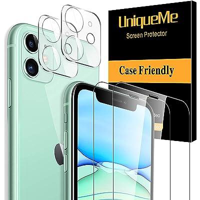 """[2 Pack]UniqueMe Protector de Pantalla para iPhone 11 (6.1"""") y [2 Pack] Protector de lente de cámara para iPhone 11 cámara, [Cobertura máxima][Sin Burbujas] HD Cristal Vidrio Templado"""