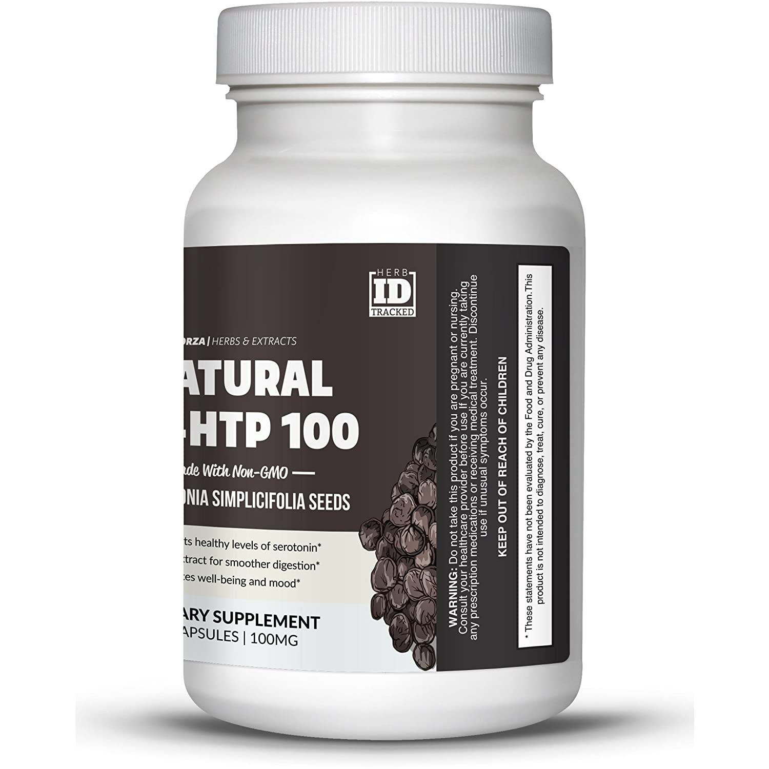 Brain Forza Natural 5-HTP 100mg Extract from Griffonia S. Capsules, Natural Support for Sleep Aid,...